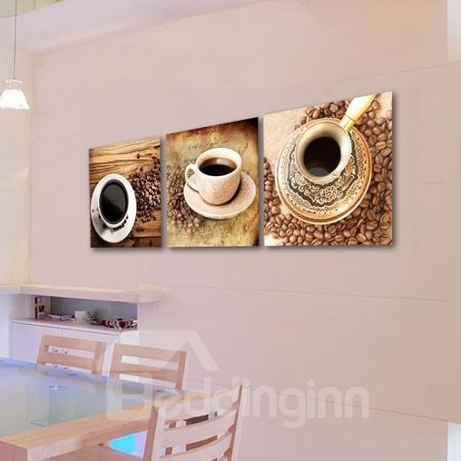 Beautiful Coffee Cup Sets and Coffee Beans Print 3-piece Cross Film Wall Art Prints