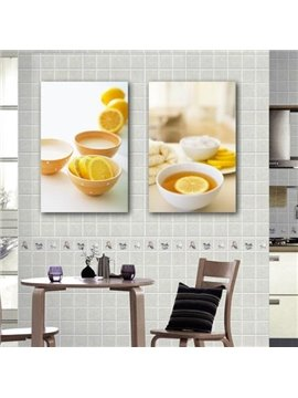 New Arrival Lovely Orange Juice Print 2-piece Cross Film  Wall Art Prints