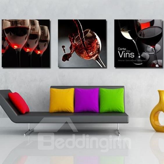 New Arrival Artistic Red Wine in Wine Glass Print 3-piece Cross Film Wall Art Prints