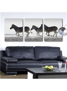 New Arrival Beautiful Running Zebras Print 3-piece Cross Film Wall Art Prints