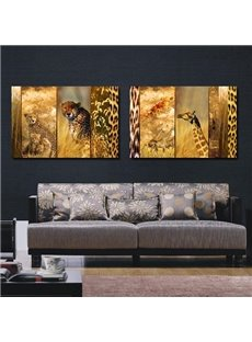 Unique Design Leopard and Giraffe Print 2-piece Cross Film Canvas Art Prints