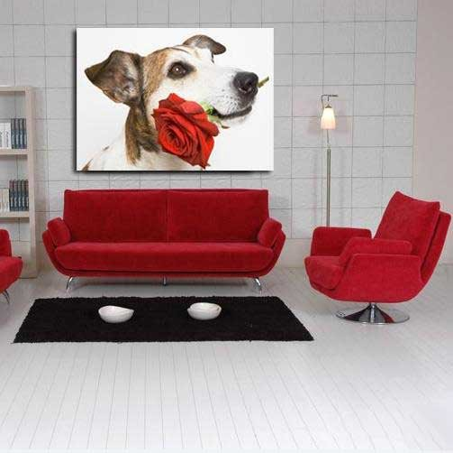 New Arrival Lovely Dog Biting a Rose in the Mouth Print Cross Film Wall Art Prints