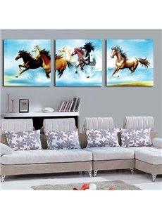 Galloping Horses Print 3-piece Cross Film Wall Art Prints
