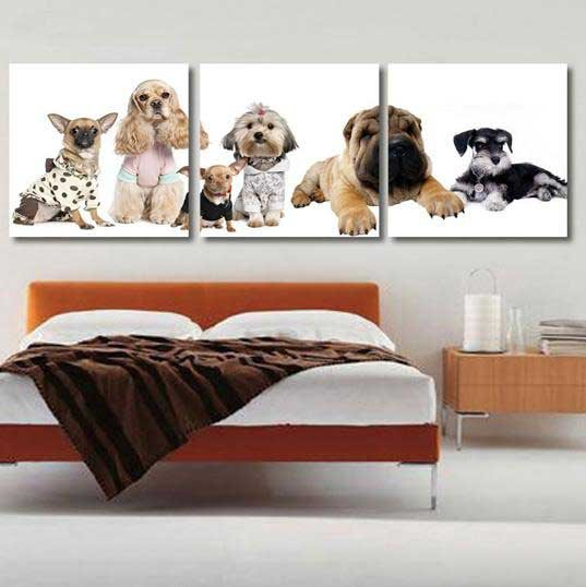 New Arrival Cute Dogs Print 3-piece Cross Film Wall Art Prints