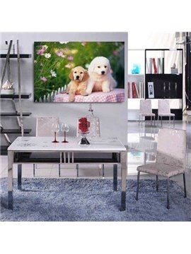New Arrival Lovely Puppies and Flowers Print Cross Film Wall Art Prints