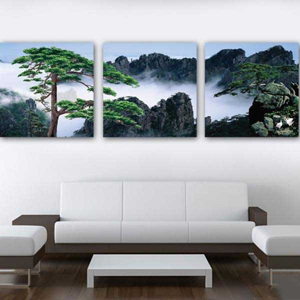 New Arrival Beautiful Guest-Greeting Pine Print 3-piece Cross Film Wall Art Prints