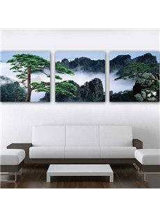 16×16in×3 Panels Green Pine Tree in Foggy Mountains Hanging Canvas Waterproof Eco-friendly Framed Prints