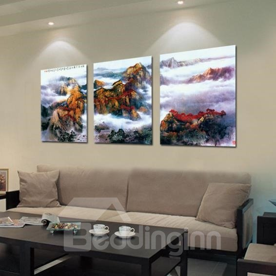 New Arrival Amazing Mountain Scenery Print 3-piece Cross Film Wall Art Prints