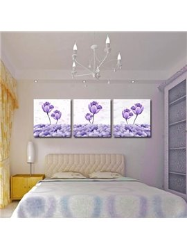 New Arrival Beautiful Purple Lotus and Cobblestones Print 3-piece Cross Film Wall Art Prints