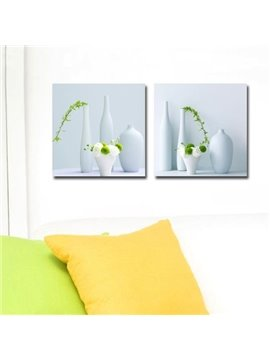 New Arrival Lovely White Vase Greenery Print 2-piece Cross Film Wall Art Prints