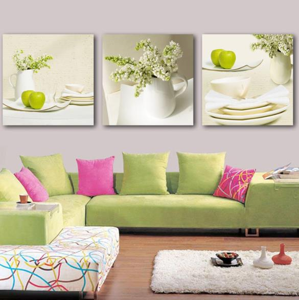 New Arrival Lovely Table Scenery Print 3-piece Cross Film Wall Art Prints