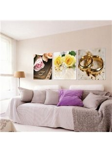 New Arrival Beautiful Flowers and Rings Print 3-piece Cross Film Wall Art Prints