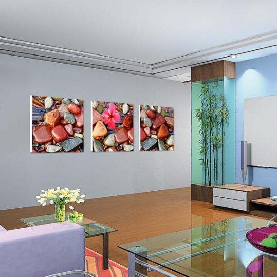 New Arrival Colorful Stones and Flower Print 3-piece Cross Film Wall Art Prints