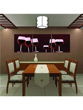 New Arrival Modern Style Red Wine and Wine Glasses Print 3-piece Cross Film Wall Art Prints