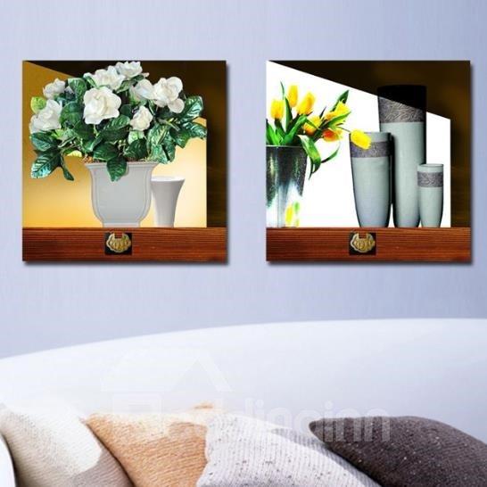 New Arrival Elegant Flowers in the Vase Print 2-piece Cross Film Wall Art Prints