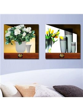 New Arrival Elegant Flowers in the Vase Print 2-piece Cross Film Wall Art Prints