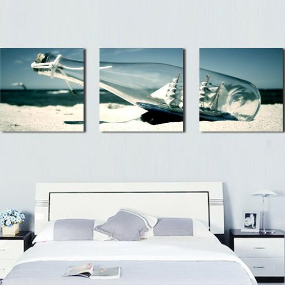 Beautiful Sailing Ship in Drift Bottle Print 3-piece Cross Film Wall Art Prints