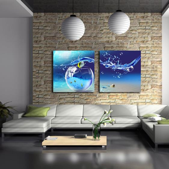 Beautiful Blue Tank and Water Drop Print 2-piece Cross Film Wall Art Prints