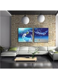 New Arrival Beautiful Blue Tank and Water Drop Print 2-piece Cross Film Wall Art Prints