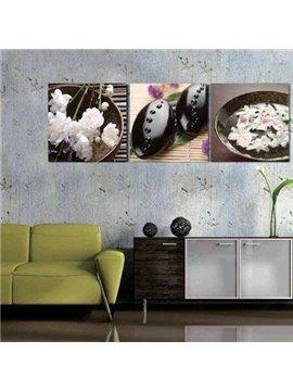 New Arrival Beautiful White Flowers and Black Stones Print 3-piece Cross Film Wall Art Prints
