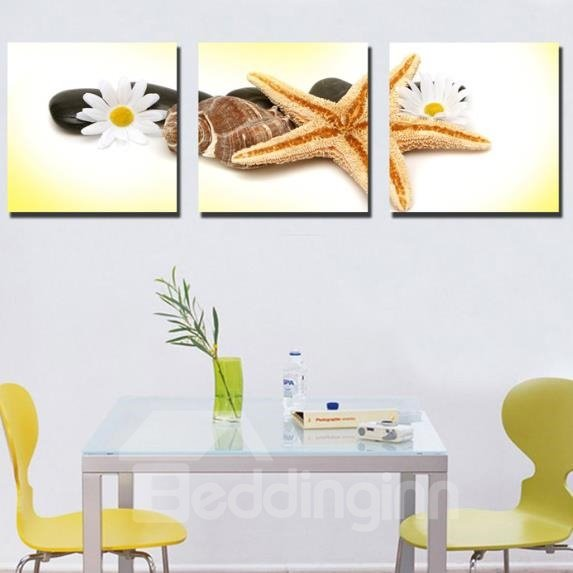 New Arrival Lovely Flower and Starfish Print 3-piece Cross Film Wall Art Prints
