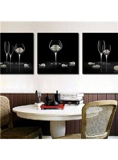 Beautiful Wine Glasses and Roses Print 3-piece Cross Film Black Wall Art Prints