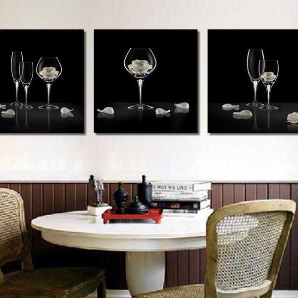 Beautiful Wine Glasses and Roses Print 3-piece Cross Film Black Wall Art Prints