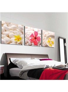 New Arrival Lovely Colorful Flowers on Cobblestones Print 3-piece Cross Film Wall Art Prints