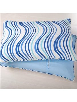 New Arrival Beautiful Blue Waves Patterns 3-piece Bed in a Bag Sets