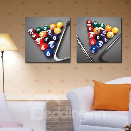 New Arrival Elegant Billiards Balls Print 2-piece Cross Film Wall Art Prints
