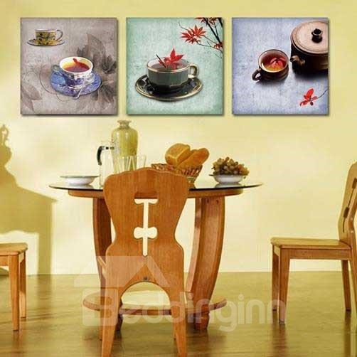 New Arrival Beautiful Tea Cup Sets Print 3-piece Cross Film Wall Art Prints