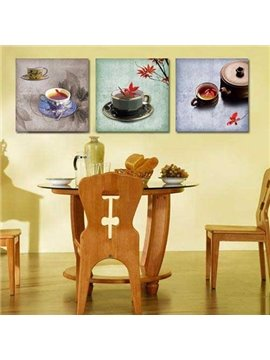 New Arrival Beautiful Tea Cup Sets Print 3-piece Cross Film Wall Art Prints