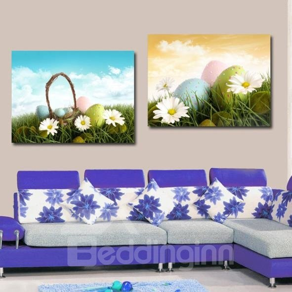 New Arrival Lovely Daisy and Colorful Eggs Print 2-piece Cross Film Wall Art Prints