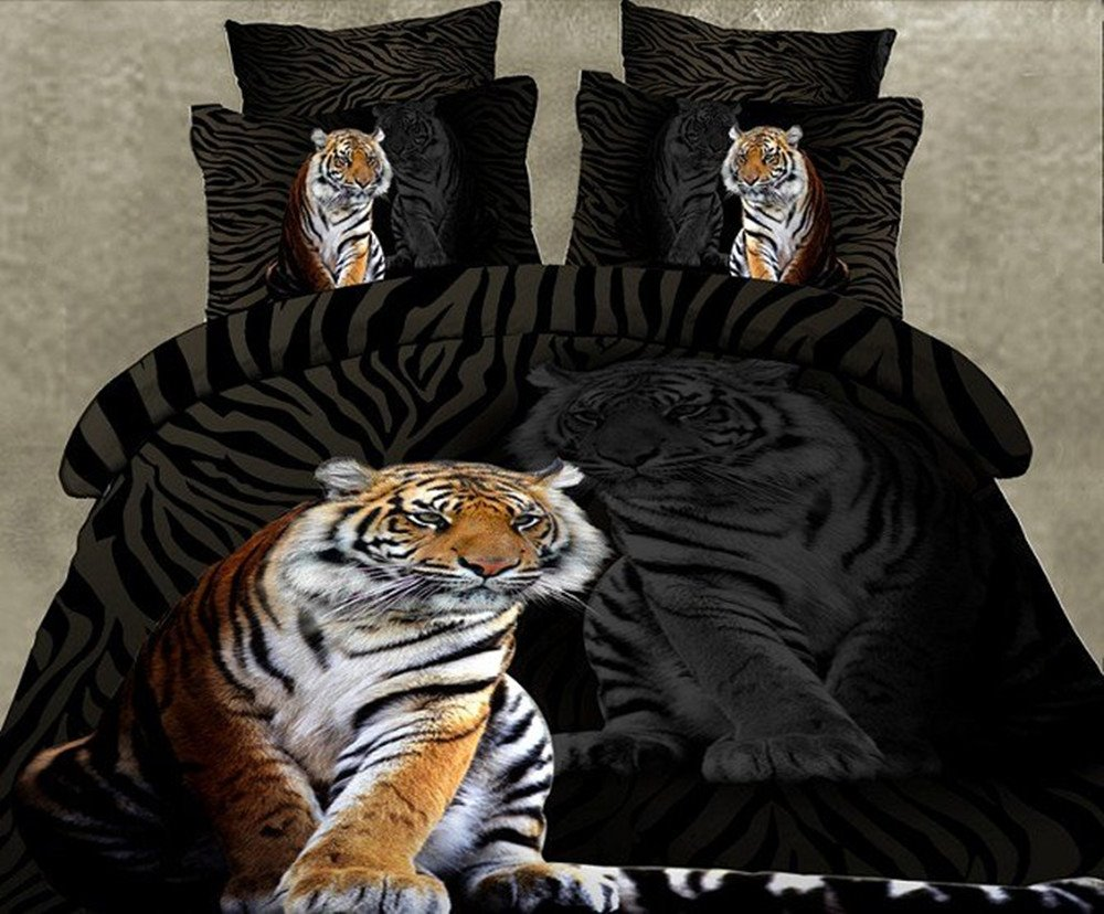 New Arrival Tiger Patterns Black and White Color 4 Piece Bedding Sets