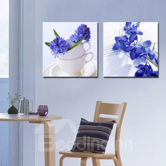 New Arrival Elegant Blue Flowers and White Cups Print 2-piece Cross Film Wall Art Prints