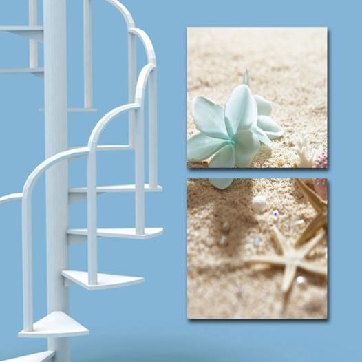 New Arrival Elegant Blue Flower and Starfish on the Beach Print 2-piece Cross Film Wall Art Prints