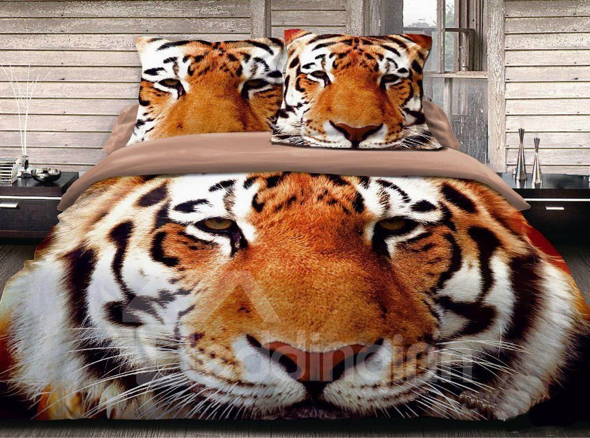 New Arrival Top Class Skincare Vivid Tiger Head 3D Print 4 Piece Bedding Sets