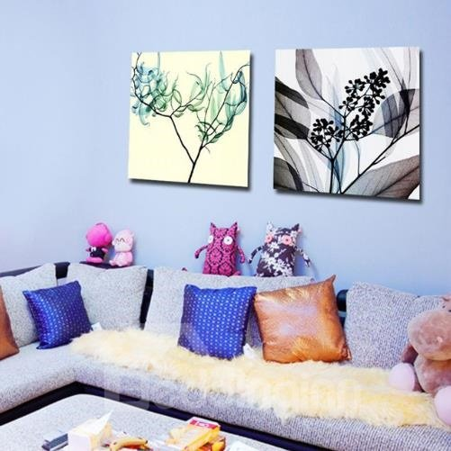 New Arrival Modern Style Abstract Branches and Leaves Print 2-piece Cross Film Wall Art Prints
