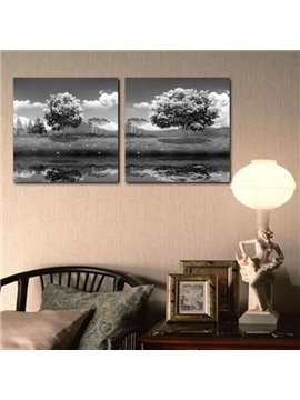 New Arrival Beautiful Lake Scenery Print 2-piece Cross Film Gray Wall Art Prints