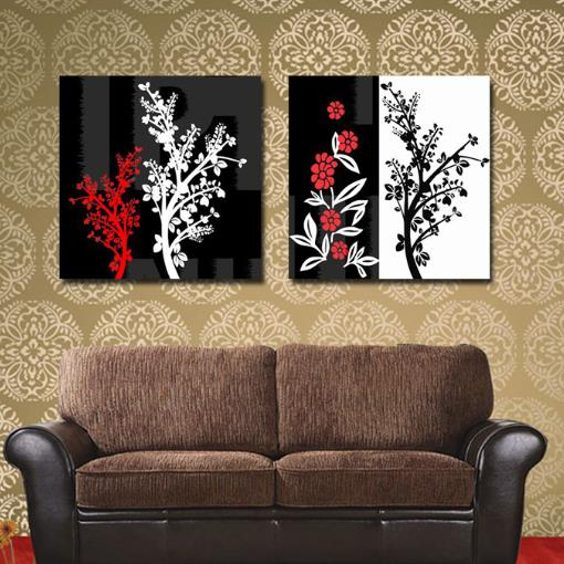 New Arrival Modern Style Elegant Branches Print 2-piece Cross Film Black and White Wall Art Prints