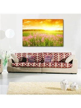 New Arrival Beautiful Pink Flowers in the Field Print Cross Film Wall Art Prints