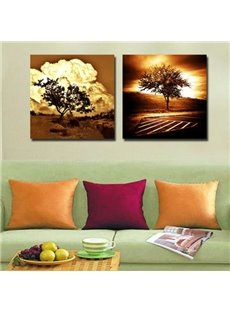 New Arrival Amazing Trees in the Sunset Scenery Print 2-piece Cross Film Wall Art Prints