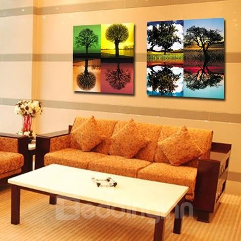 New Arrival Beautiful Trees and Reflections Print 2-piece Cross Film Wall Art Prints