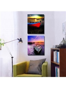 New Arrival Beautiful Vivid Canoes on the Lake Print 2-piece Cross Film Wall Art Prints