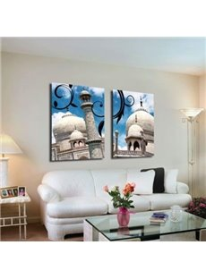 New Arrival Elegant White Castle and Blue Sky Print 2-piece Cross Film Wall Art Prints