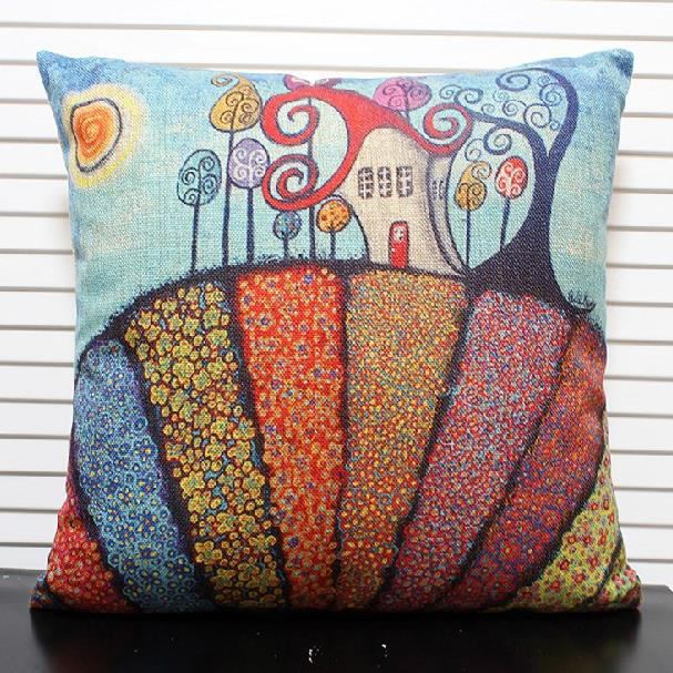 Lovely Fairy-tale Castle Print Throw Pillow Case