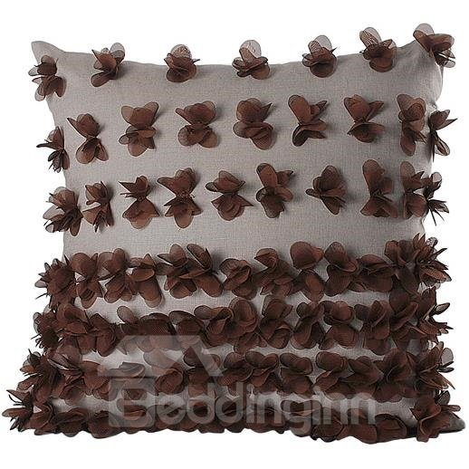 New Arrival Beautiful Butterflies Applique Linen Throw Pillowcase