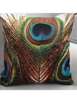 New Arrival Beautiful Brown and Green Peacock Feathers Print Throw Pillow