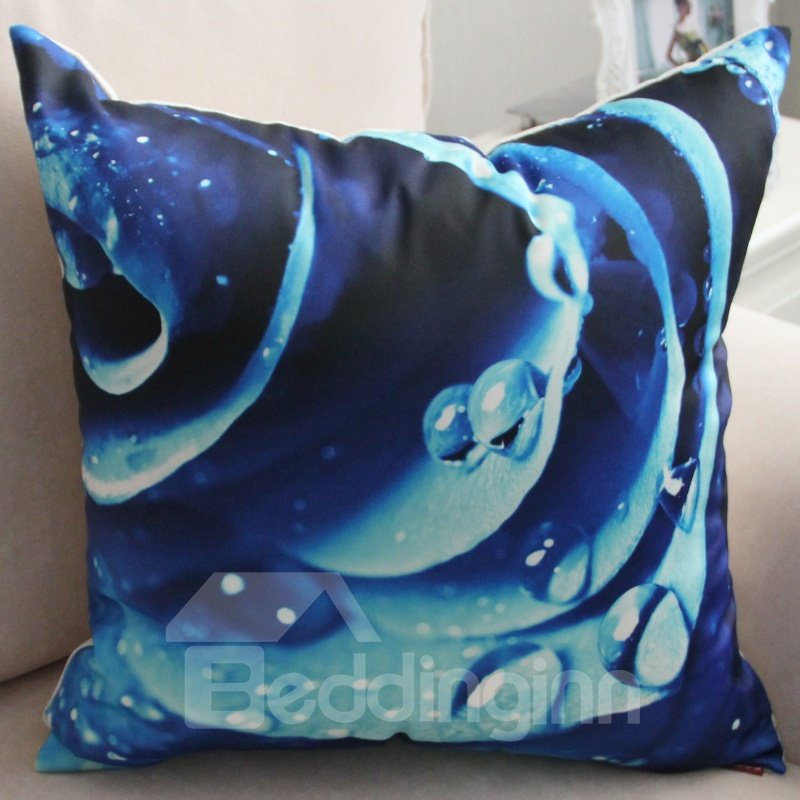 New Arrival Beautiful Blue Flower and Water Drops Print Throw Pillow