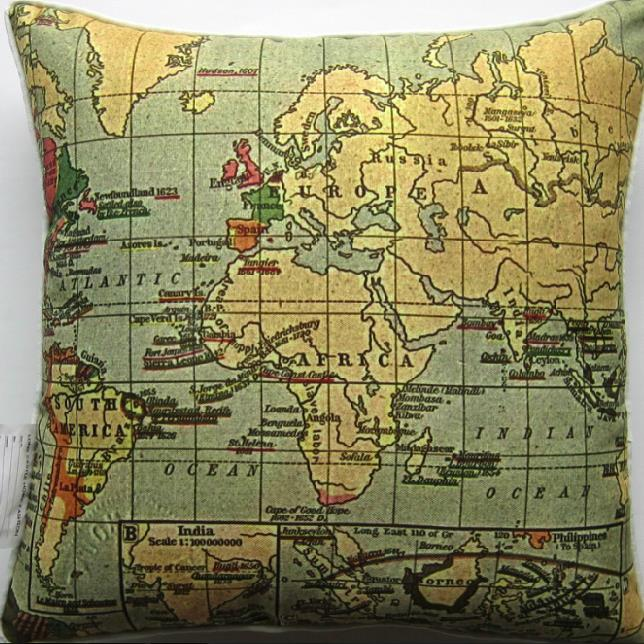 Antique Beautiful Africa Map Print Throw Pillow